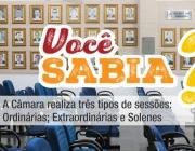 A Câmara realiza três tipos de sessões: Ordinárias; Extraordinárias; e Solenes