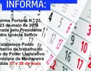 Câmara estabelece ponto facultativo nos dias 27 e 30 de  maio