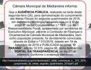Câmara Municipal de Medianeira informa: