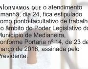 Câmara Municipal informa: ponto facultativo nesta quinta-feira, 24 de março