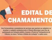 EDITAL DE CHAMAMENTO PÚBLICO: Cadastro e atualização de fornecedores e serviços