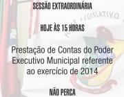 Prefeito presta contas do exercício de 2014 em sessao extraordinária a ser realizada hoje