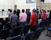 Servidores da Câmara prestam gesto de civismo ao entoar o Hino Nacional