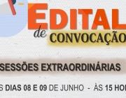 Sessões extraordinárias são convocadas para dias 8 e 9 de junho