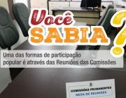 Uma das formas de participação popular é através das Reuniões das Comissões